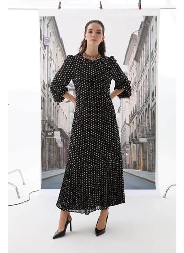 Vivencia Belden Bağlamalı Puantiyeli Kadın Elbise  Siyah